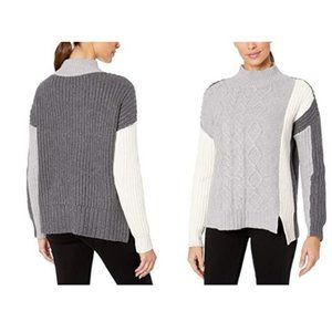 Vince Camuto Colorblock Cableknit Sweater Grey
